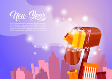 Mail Box With Present Happy New Year Merry Christmas Greeting Card Banner. Flat Vector Illustration Royalty Free Stock Image