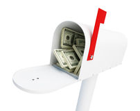 Mail box stacks of dollars. On a white background Royalty Free Stock Photos