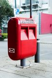 Mail box on the street. Red Mail box on the street, Mexico City stock photo