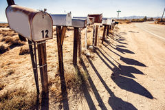 Mail boxes at Arizona desert royalty free stock images