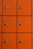 Mail boxes. Bucharest, Romania, 7 February 2016: Orange vertical mail boxes in a post office stock images