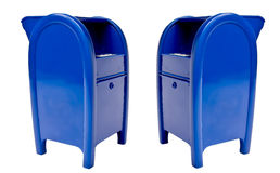 Mail Boxes Concept Isolated. Two generic mail collection boxes isolated on a white background royalty free stock photo