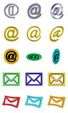 Mail button set. Illustration of colored buttons 3d web mail Royalty Free Stock Photos