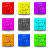 Mail button set square Stock Photos