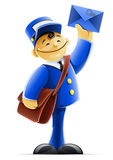 Mail carrier with bag and letter Stock Images