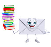 Mail Character with Books pile Stock Images