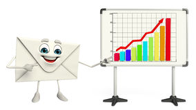 Mail Character with business graph Royalty Free Stock Photography