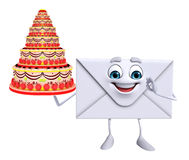 Mail Character with cake Royalty Free Stock Images