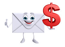 Mail Character with dollar sign Royalty Free Stock Photos