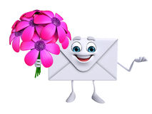 Mail Character with flowers Stock Photography