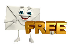 Mail Character with free text sign Royalty Free Stock Photography
