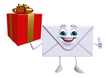 Mail Character with gift box Royalty Free Stock Photography