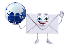 Mail Character with globe Royalty Free Stock Photo