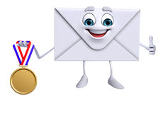 Mail Character with gold medal Stock Image