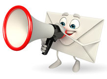 Mail Character with Loudspeaker Stock Images