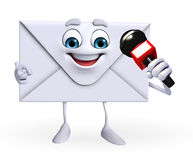 Mail Character with mike Stock Photo
