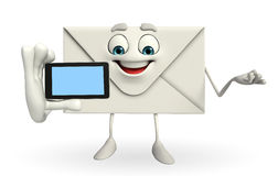 Mail Character with mobile Royalty Free Stock Images