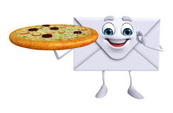 Mail Character with pizza Stock Images