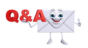 Mail Character with Q&A Stock Images