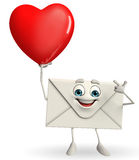 Mail Character with red heart Royalty Free Stock Images