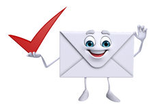Mail Character with right sign Stock Photos