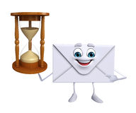 Mail Character with sand clock Stock Photo