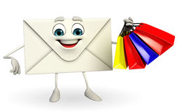 Mail Character with shopping bag Royalty Free Stock Photography