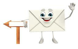 Mail Character with sign board Stock Photo