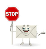 Mail Character with stop sign Stock Photography