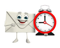Mail Character with table clock Stock Photos