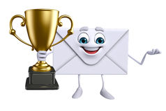 Mail Character with trophy Royalty Free Stock Image
