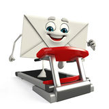 Mail Character with walking machine Stock Photo