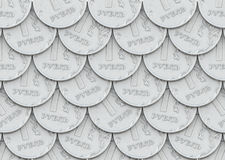 Mail of coins in one ruble. Lot of silver coins laid out in mail Stock Images