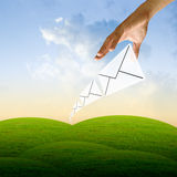 Mail come to the hand in morning Stock Image