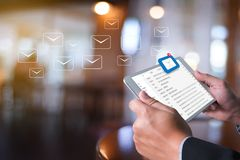 Mail Communication Connection message to mailing contacts inbox. To view the pending e-mail communication Stock Photo