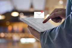Mail Communication Connection message to mailing contacts inbox. To view the pending e-mail communication royalty free stock image