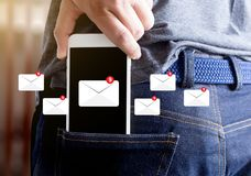 Mail Communication Connection message to mailing contacts inbox. To view the pending e-mail communication Royalty Free Stock Photo
