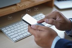 Mail Communication Connection message to mailing contacts phone royalty free stock photos
