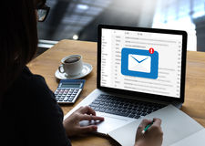 Mail Communication Connection message to mailing contacts phone. Global Letters Concept Stock Photography