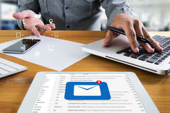 Mail Communication Connection message to mailing contacts phone. Global Letters Concept Royalty Free Stock Image