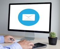 Mail Communication Connection message to mailing contacts phone. Global Letters Concept Royalty Free Stock Photo