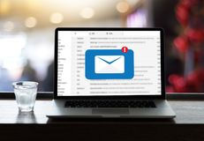 Mail Communication Connection message to mailing contacts phone. Global Letters Concept Stock Photo