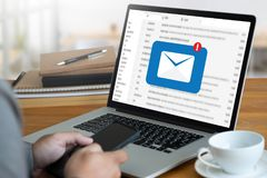 Mail Communication Connection message to mailing contacts phone. Global Letters Concept Royalty Free Stock Images