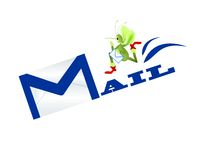 Mail concept. With M letter in mail word formed by the envelop contour and mosquito delivering a letter Stock Photo