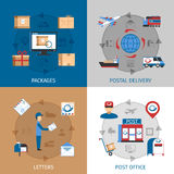 Mail Concept Icons Set. With packages post office and letters symbols flat  vector illustration Stock Photography