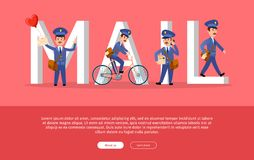Mail Conceptual Web Banner with Cartoon Postman. Characters. Funny postal couriers delivering letters and parcels flat vector illustration. Horizontal concept Stock Image