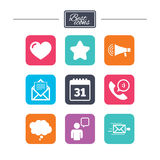 Mail, contact icons. Communication signs. Mail, contact icons. Favorite, like and calendar signs. E-mail, chat message and phone call symbols. Colorful flat stock illustration