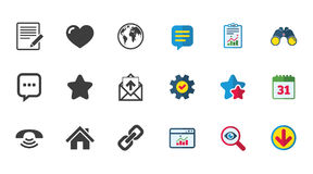 Mail, contact icons. Communication signs. Mail, contact icons. Favorite, like and internet signs. E-mail, chat message and phone call symbols. Calendar, Report Royalty Free Stock Photos