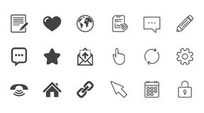 Mail, contact icons. Communication signs. Mail, contact icons. Favorite, like and internet signs. E-mail, chat message and phone call symbols. Chat, Report and Stock Photos