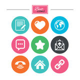 Mail, contact icons. Communication signs. Mail, contact icons. Favorite, like and internet signs. E-mail, chat message and phone call symbols. Colorful flat Royalty Free Stock Images